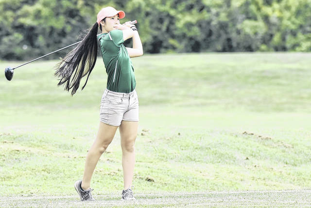 EHS senior Kylee Tolliver tees off during the Eagles' match on Aug. 7 at Cliffside Golf Course in Gallipolis, Ohio.