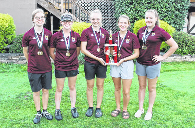 Meigs came away with top honors during the first-ever TVC girls golf championship match held Monday at Athens Country Club in Athens, Ohio. Pictured, from left, are Caitlyn Cotterill, Shelbe Cochran, Shaylynn Mitchell, Lydia Edwards and Kylee Robinson.