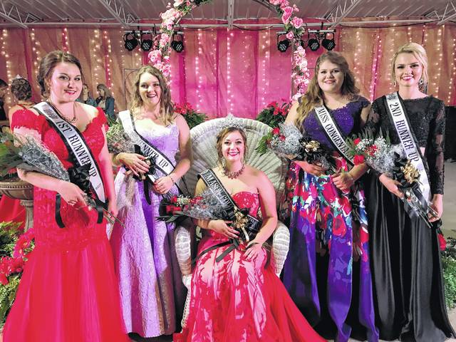 Mason County Fair Queen Jordan Muncy, pictured sitting, is joined by, from left, First Runner-up Kerigan Blake, Third Runner-up Karlee Edmonds, Miss Congeniality Maggie Waugh, Second Runner-up Emily Keefer.