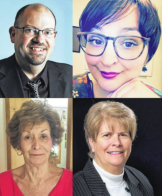 The University of Rio Grande and Rio Grande Community College announces the winners for the 2018 Alumni Awards. Clockwise, the winners are (top left) Chad Lambert, '94, Distinguished Alumnus Award; Jessica Wickline Lawhon, '12, Atwood Achievement Award; Vicki Crabtree, University of Rio Grande Faculty/Staff Recognition Award; and Ellen Brasel, '93, University of Rio Grande Alumni Award.