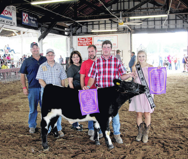 The Junior Livestock Sale was held on Friday of the Mason County Fair. Grand Champion feeder calf went to Derek Schwartz, buyer Pleasant Valley Hospital (PVH), Cabell Huntington Hospital, Marshall University Joan C. Edwards School of Medicine, Roush Boer Goats Matt and Walt, and Southern States ($6.50). More photos from the Junior Livestock Sale are located inside this edition and online at www.mydailyregister.com.