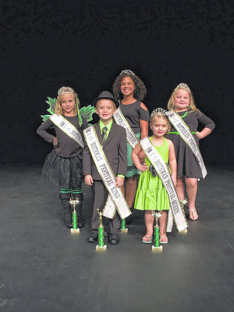 The children's royalty crowned for the Mothman Festival include, from left to right, front row, Anthony Brinkman, Little Mister King; and Makaela Hamby, Tiny Miss Queen. Back row, from left to right, Vivienna Montgomery, Little Miss Queen; Jasmine Wright, Junior Miss Queen; and Makayla Billings, Young Miss Queen.