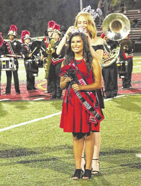 The 2017 Point Pleasant High School Homecoming Queen Cierra Porter crowned Leann Dalton as the 2018 PPHS Homecoming Queen at halftime of Friday night's week four football contest between the Big Blacks and Herbert Hoover. Point Pleasant remained unbeaten with a 53-21 victory.