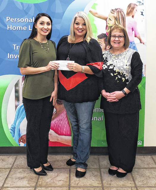 Peoples Bank is a sponsor of the Point Pleasant Battle Days pageant once again this year. The pageant is a fundraiser for the Mason County Toys for Kids Association. Pageant Director Brandy Barkey Sweeney is pictured with Valerie Johnson, branch manager, and Roxanne Weaver, personal banker.