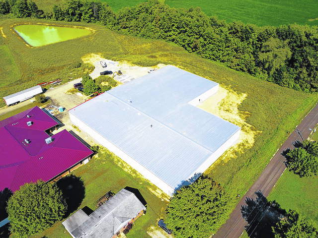 An aerial view of the facility currently under construction in Albany.