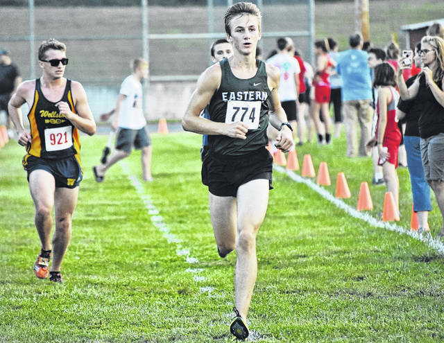 Eastern's Colton Reynolds strides toward the finish line en route to a 10th place effort at the Federal Hocking Invitational on Wednesday in Stewart, Ohio.