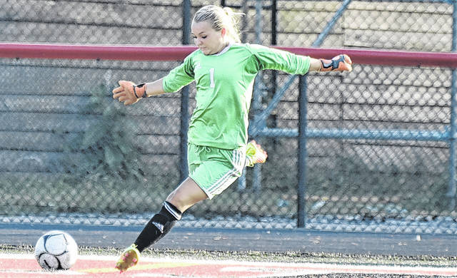 PPHS junior goalkeeper Monica Cook (1) attempts a goal kick during the Lady Knights' 2-0 setback to Sissonville on Thursday night in Mason County.