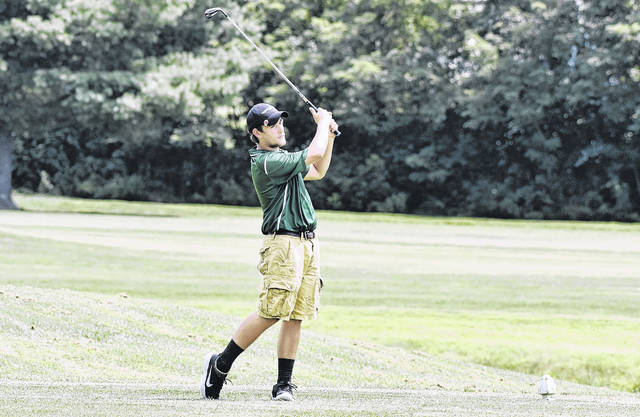 EHS senior Jasiah Brewer tees off during a Tri-Valley Conference Hocking Division contest on Aug. 7 at Cliffside Golf Course in Gallipolis, Ohio.