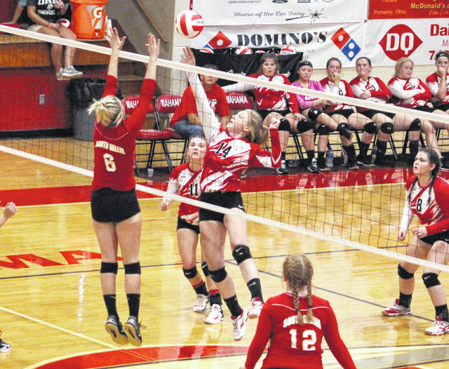 Wahama senior Logan Eades (14) hits a spike attempt over a South Gallia blocker during Game 1 of Wednesday night's TVC Hocking volleyball contest at Gary Clark Court in Mason, W.Va.