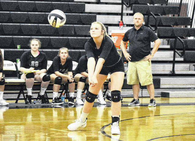 River Valley's Taylor Huck attempts a dig during the Lady Raiders victory over Rock Hill on Monday night in Gallia County.