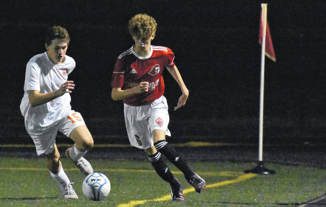 PPHS freshman Brandon Randolph (6) controls the ball during the Black Knights' 3-1 victory over Belpre on Thursday night in Mason County.