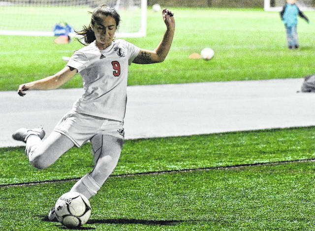 PPHS senior Teagan Hay attempts a shot during the first half of the Lady Knights' 2-0 setback to Williamstown on Tuesday at the Shawnee Sports Complex in Dunbar, W.Va.