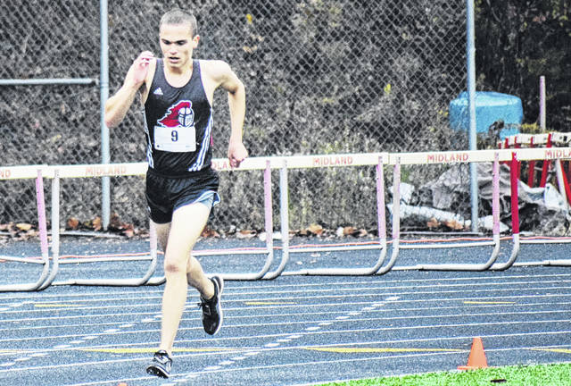 Point Pleasant's Luke Wilson strides toward the finish line on Saturday during the 2018 WVSSAC AA-A Cross County State Championship meet in Ona, W.Va. (Scott Jones|OVP Sports)