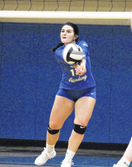 Gallia Academy senior Taylor Burnette passes the ball from the back row, during the Blue Angels' straight games win over South Point on Thursday in Centenary, Ohio.