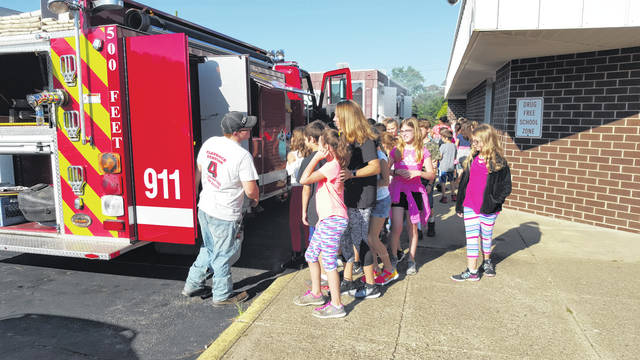 The Flatrock Fire Department visits Roosevelt every year during National Fire Prevention Week.