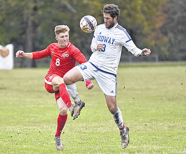 Rio Grande's Harry Reilly and Midway's Stephan Peuterbaugh battle for a loose ball during an Oct. 27 River States Conference men's soccer matchup in Midway, Ky.