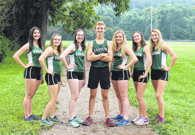 Pictured above are members of the 2018 Eastern cross country team. Standing, from left, are Rhiannon Morris, Ally Durst, Alysa Howard, Colton Reynolds, Whitney Durst, Lexa Hayes and Megan Ross.