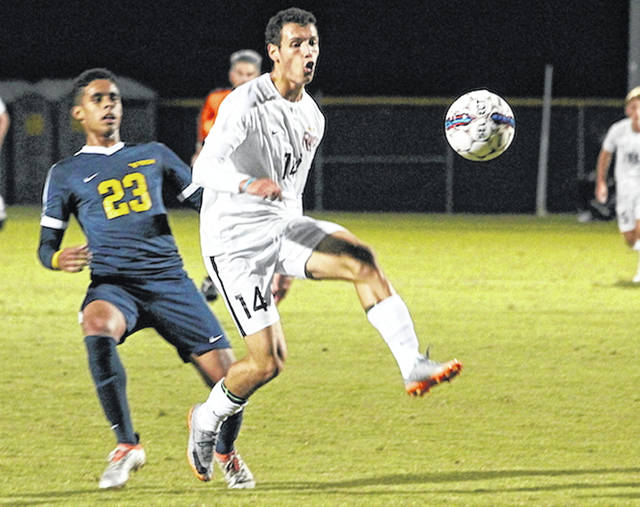 Rio Grande's Nicolas Cam Orellana scored the first of the RedStorm's three goals in a 3-1 win over West Virginia University-Tech on Oct. 11 at Evan E. Davis Field in Rio Grande, Ohio.