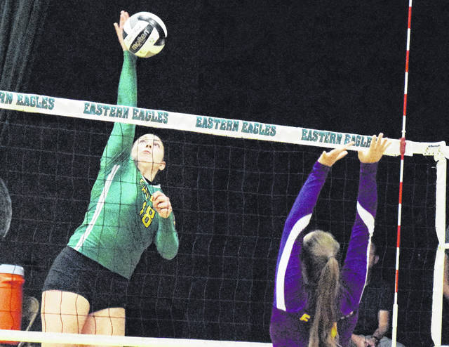 EHS junior Caterina Miecchi attempts a spike during the Lady Eagles victory over Ironto St. Joseph on Oct. 18 in Tuppers Plains, Ohio.