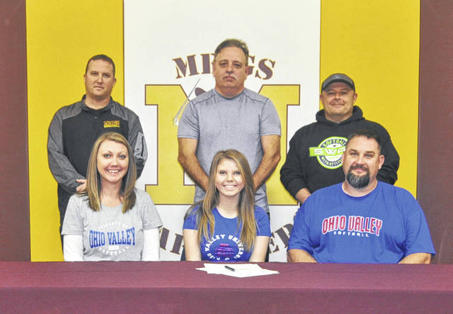On Monday at MHS, senior Ciera Older signed her National Letter of Intent to join the Ohio Valley University softball team. Sitting in the front row, from left, are Melissa Lambert, Ciera Older and Chris Lambert. Standing in the back row are MHS athletic director Bryan Swann and travel ball coach Bryan Cooper.