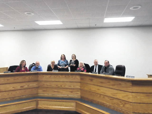 Mason County Schools celebrated the 2018 Teacher and Service Personnel of the Year at the recent Mason County Board of Education meeting. Kristin Wallbrown, Beale Elementary teacher, and Jackie Corfee, Leon Elementary service personnel, received the awards. Pictured with Wallbrown and Corfee are, from left to right, Board Members Ashley Cossin, Dale Shobe, Board Vice President Meagan Bonecutter, Board Member Rhonda Tennant, Superintendent Jack Cullen, and Board President Jared Billings.