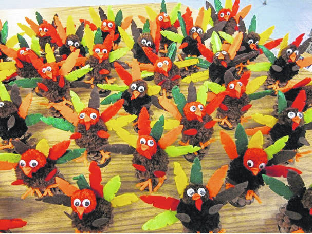 The 60 turkeys made by Rosie Miller's students were given out to Pleasant Valley Nursing and Rehabilitation residents.