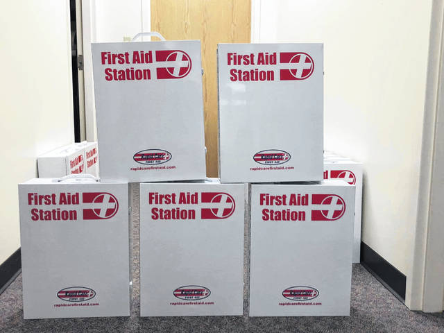 The Mason County Health Department is handing out first aid stations, free of charge, to churches and community buildings throughout the county. The distribution began last year, with additional kits being purchased recently.
