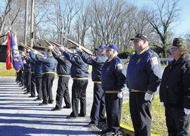 A gun salute marked the 77th anniversary of Pearl Harbor during a ceremony Friday at the Mason levee. The ceremony was held by the Smith-Capehart American Legion Post 140 of New Haven and Stewart-Johnson V.F.W. Post 9926 of Mason.