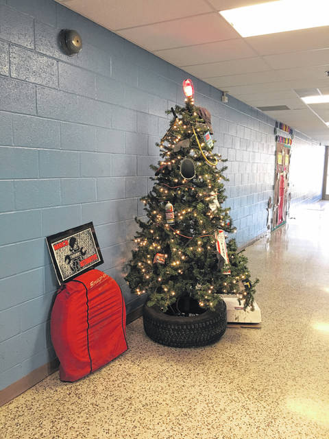 The third place winner of the door decorating contest was Mr. Hereford's Welding class' Christmas tree.