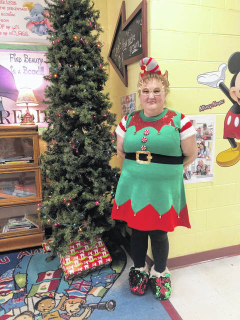 PPPS Teacher Debra Byus showing her Christmas spirit.