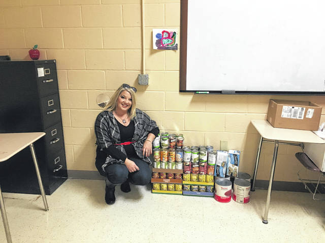 The students at the Mason County Career Center are only 79 non-perishable food items away from their goal of 500.