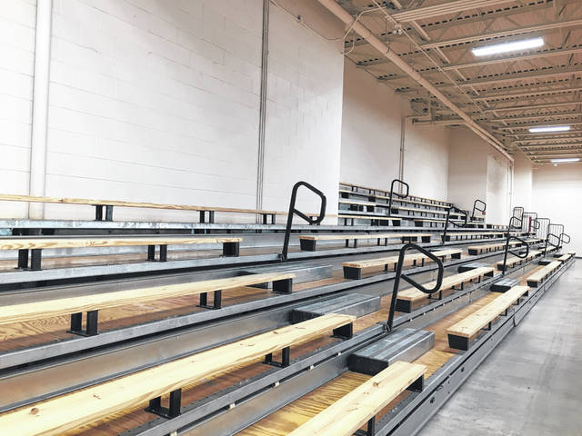 The renovated PPJ/SHS gymnasium bleachers.