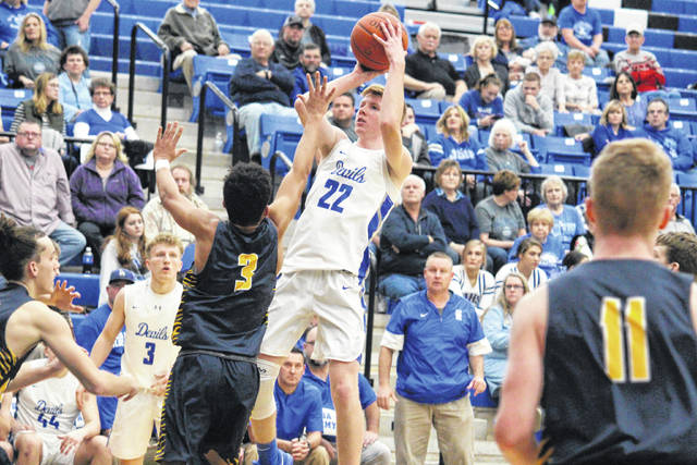 Gallia Academy senior Cory Call (22) shoots a two-pointer, during the Blue Devils 54-43 victory on Tuesday in Centenary, Ohio.