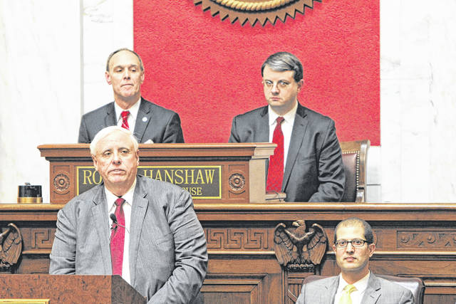 Gov. Jim Justice during the 2019 State of the State Address at the West Virginia State Capitol on the first day of the regular session on Jan. 9.