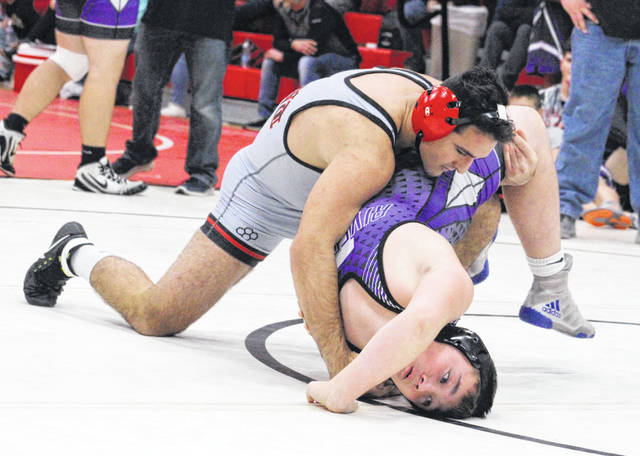 Point Pleasant junior Nazar Abbas maintains leverage on an opponent during the Jason Eades Memorial Duals held on Dec. 8, 2018, at Point Pleasant High School in Point Pleasant, W.Va.