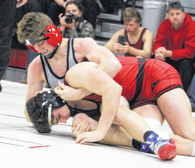 Point Pleasant junior Logan Southall locks in a hold on an opponent during a match at the 2018 Jason Eades Memorial Duals held Dec. 8, 2018, at Point Pleasant High School in Point Pleasant, W.Va.