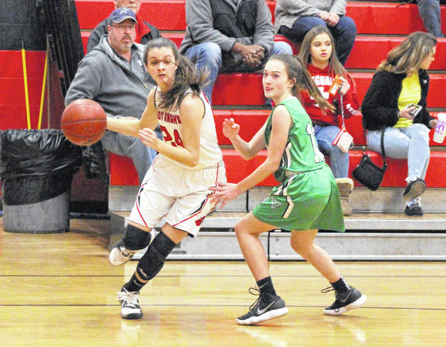 PPHS freshman Brooke Warner (left) drives past a Winfield defender, during a Jan. 10 contest in Point Pleasant, W.Va.