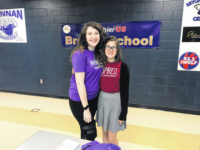 Olivia Hubbard pictured with Sumer Hughes, Hannan High School senior and an Inspired Leader with Inspire WV, during the voter registration event Hughes planned for her peers.