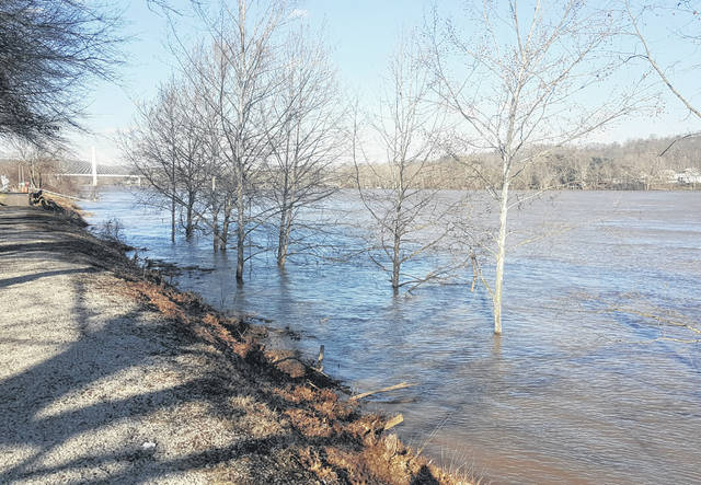 The Ohio River continued to run near flood stage on Wednesday throughout the area, including here in Middleport near Dave Diles Park.