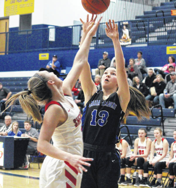 GAHS freshman Preslee Reed (13) hits a two-pointer over a Lady General, during Sheridan's 54-11 victory on Thursday in Wellston, Ohio.