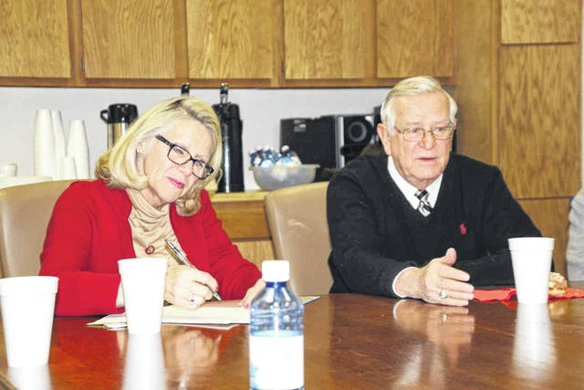 Congresswoman Carol Miller meets with Mason County Development Authority Director John Musgrave and others on Friday in Point Pleasant.