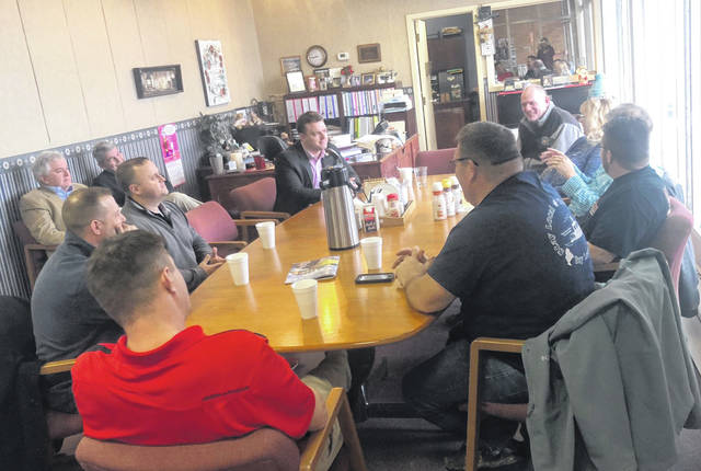 State Representative Jay Edwards (R-Neslonville) visited with local business representatives during last Friday's Chamber Chatter at the Meigs County Chamber of Commerce and Tourism office in Pomeroy. CHamber Chatter is held each Friday at 8 a.m. at the office located at 238 West Main Street in Pomeroy.