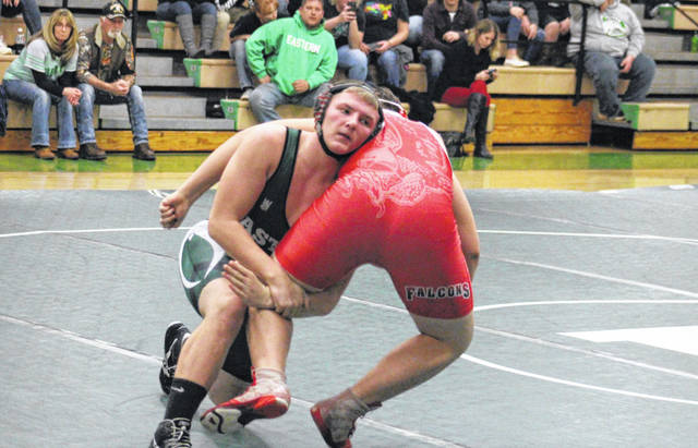 Eastern sophomore Steven Fitzgerald takes down a Wahama opponent, during the 'Battle of the Birds' on Dec. 19 in Tuppers Plains, Ohio.