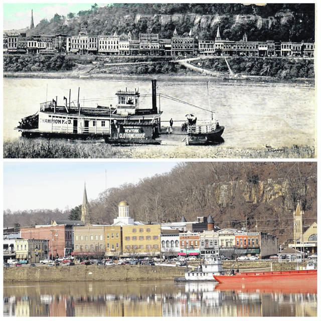 Downtown Pomeroy can be seen from the Mason boat ramp area in these two photos. The top photo appears on a post card from the collection of Carl DeLong and is undated. In the photo the ferry can be seen docked in Mason to take people to Pomeroy. Many businesses can be seen along Main Street, as well as the dome of the Courthouse and the top of the steeple of the Catholic Church. Noticeably different is the riverfront area with the absence of the current Pomeroy Parking Lot. The bottom photo, taken approximately two weeks ago, shows downtown as work is taking place on the parking lot. Also visible is the dome of the Courthouse, as well as the steeple of the Catholic Church.