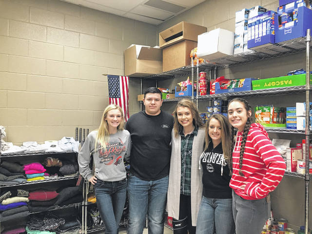 PPJ/SHS students join together to help bring a food/clothes pantry to their school. Pictured from left to right are Lexee Wray, Trenton Mayes, Clairy Keefer, Crimson Cochran and Kasey Lyons.