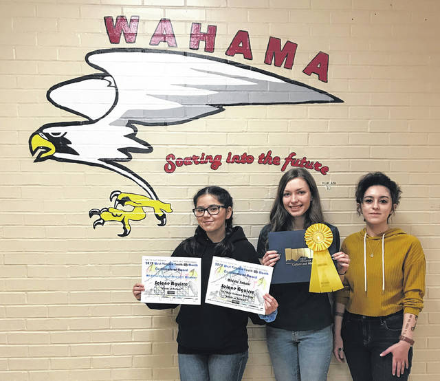 Wahama High School students, from left, Selene Aguirre, Camryn Tyree, and Reese Roush have received recognition in recent art shows across the state.