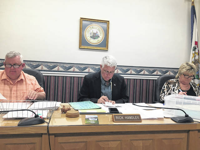 Pictured are Mason County Commissioners, from left, Sam Nibert, Rick Handley and Tracy Doolittle during their discussion at this week's regular meeting.