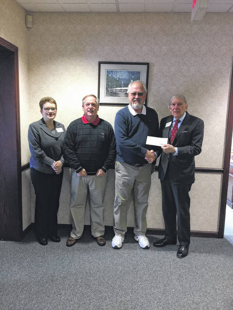 Ohio Valley Bank recently donated towards the Gold Star Mothers Monument project. Those pictured are, left to right, Bank Representative Missy Thomas, Committee Member Ed Cromley, Committee Member Denny Bellamy, and Bank Representative Mario Liberatore.