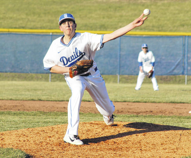Gallia Academy freshman Zane Loveday delivers a pitch during the fifth inning of Wednesday night's non-conference baseball game against Athens at Bob Eastman Field in Centenary, Ohio.