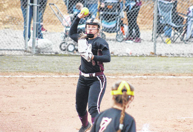 Lady Marauders' junior Breanna Zirkle throws to first base, during Meigs' 10-0 win on Thursday in Rocksprings, Ohio.